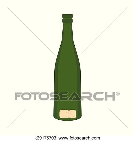 Empty bottle of champagne icon, flat style Clipart.