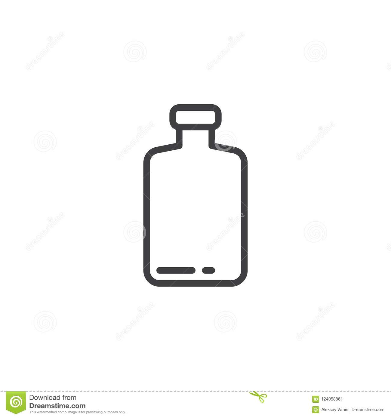 Empty bottle outline icon stock vector. Illustration of single.