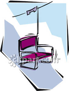 An Empty Chair on a Ski Lift Royalty Free Clipart Picture.