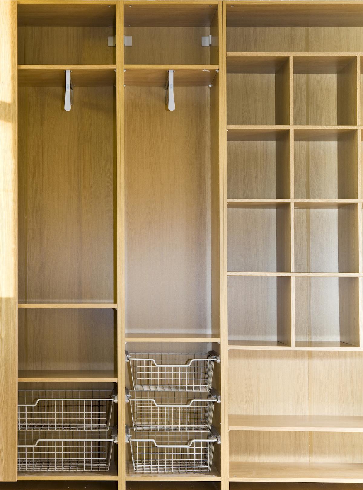 Wooden Shelves Laundry Room