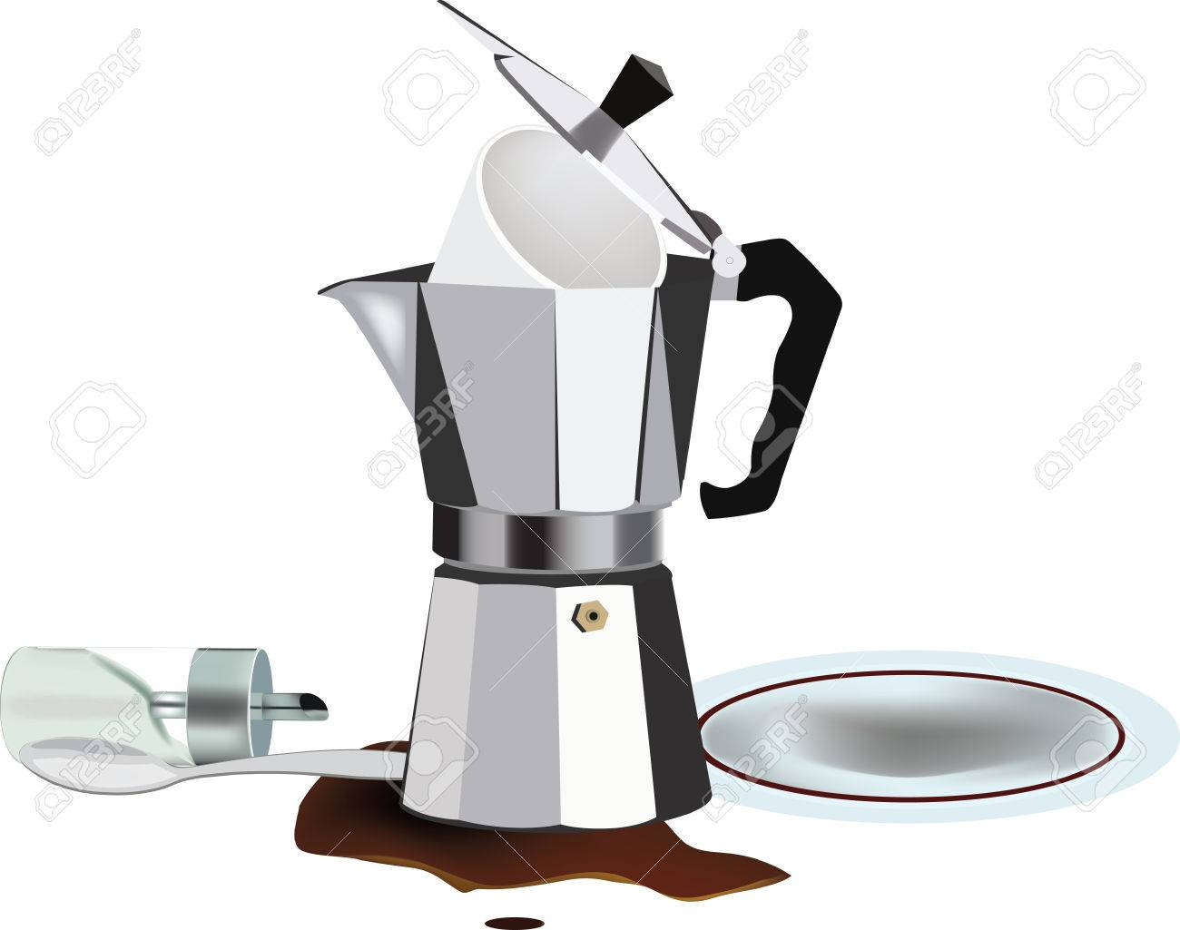 empty coffee pot with disorder and inverted sugar.
