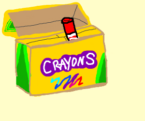 crayon box with cigs in.