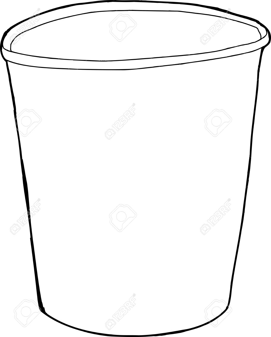 Single empty cup outline drawing over white background.