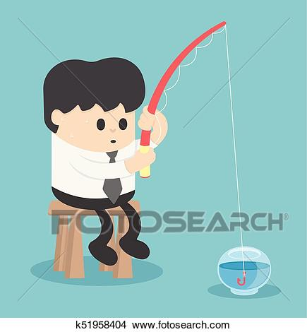 Businessman fishing in the empty fish tank Clipart.