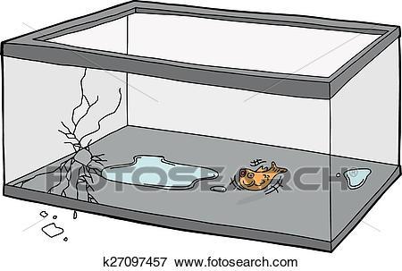 Goldfish Flopping in Empty Tank Clip Art.