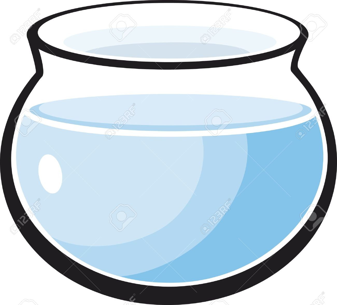cartoon Illustration of empty fish tank.