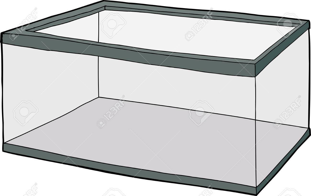 Single hand drawn empty fish tank cartoon over white.