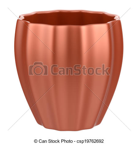 Abstract empty flower pot isolated on white background..