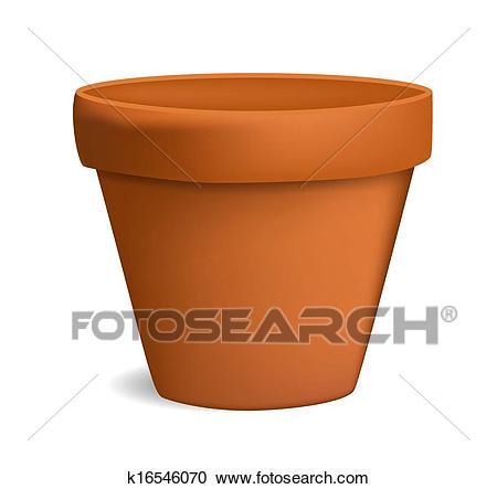 Empty flowerpot vector illustration Clipart.
