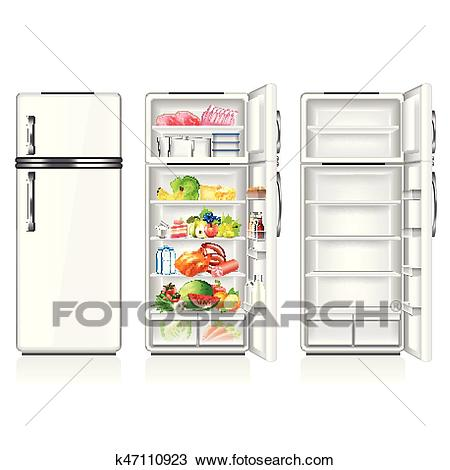 Full and empty fridge isolated on white vector Clipart.