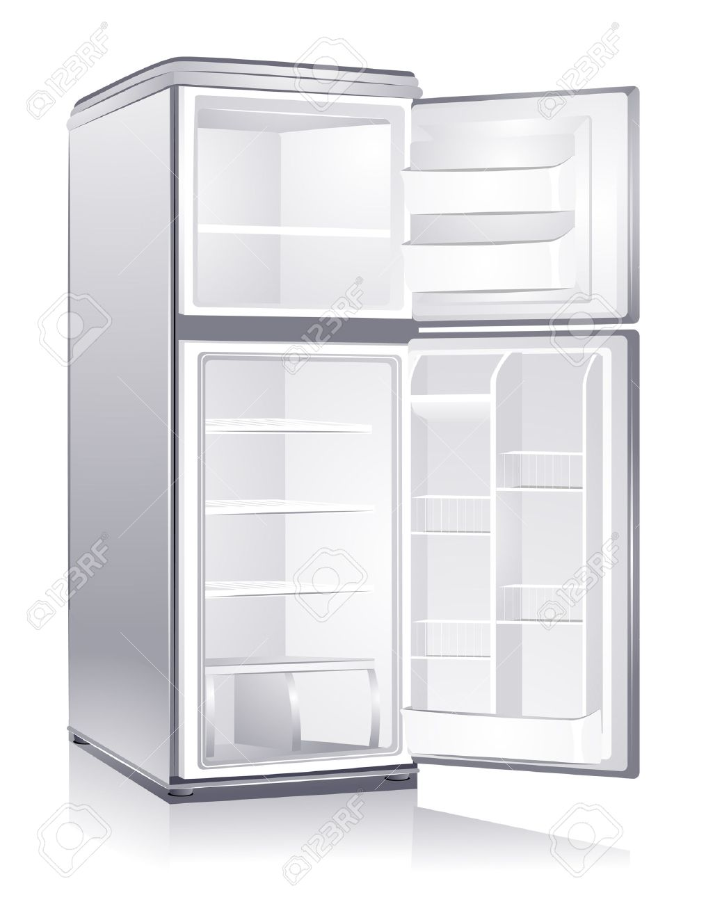 Empty Refrigerator with Clipping Path.