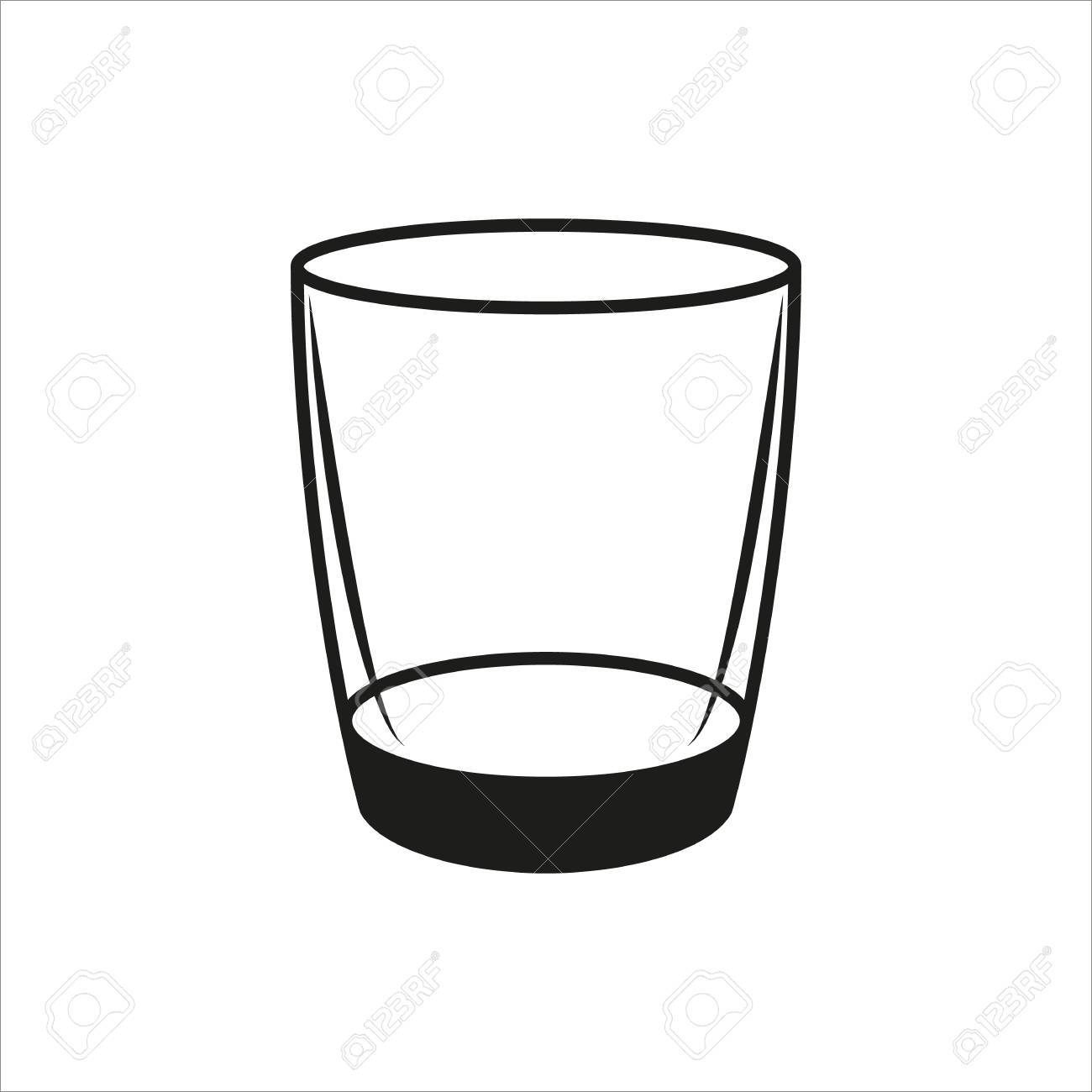 Empty glass in simple monochrome style icon on white background.