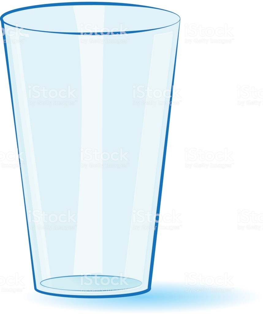Empty Glass Isolated On A White Background Vector Stock Illustration.