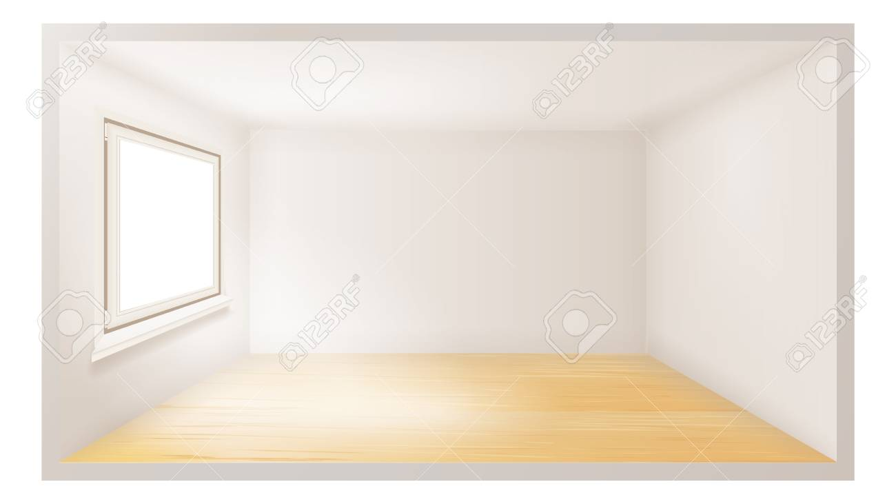 Empty Room Vector. Empty Wall. Sunlight Falling Down. Architecture...