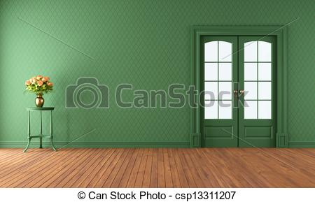 Empty green living room with.