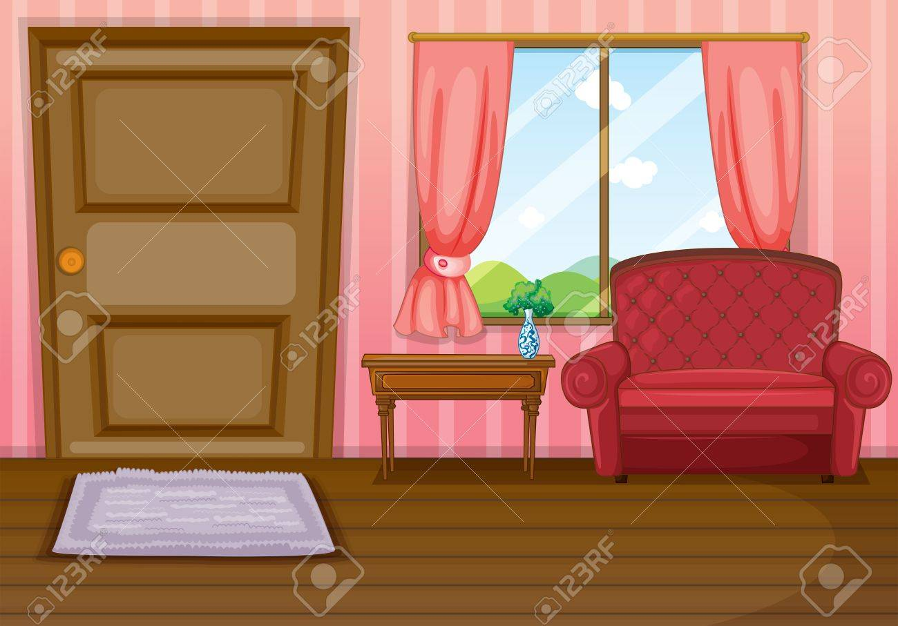 Illustration of an empty living room.