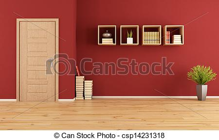 Empty red living room.