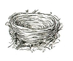 Empty nest clipart black and white.
