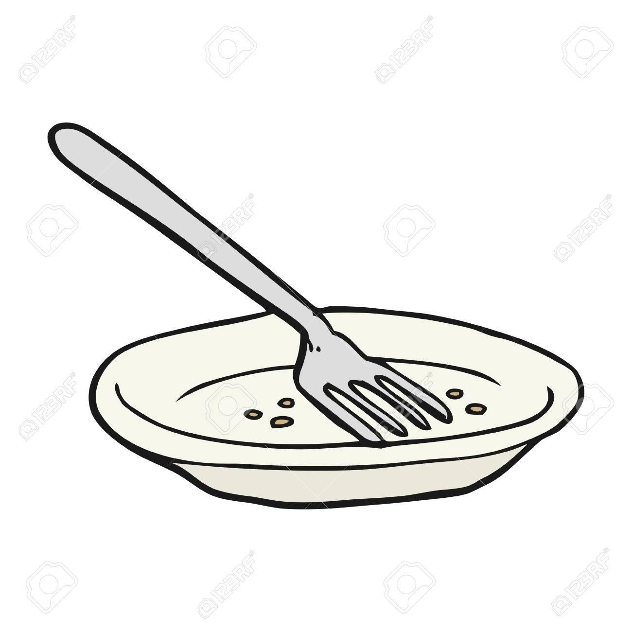freehand drawn cartoon empty plate.