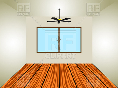 Empty room with window and ceiling fan Vector Image.