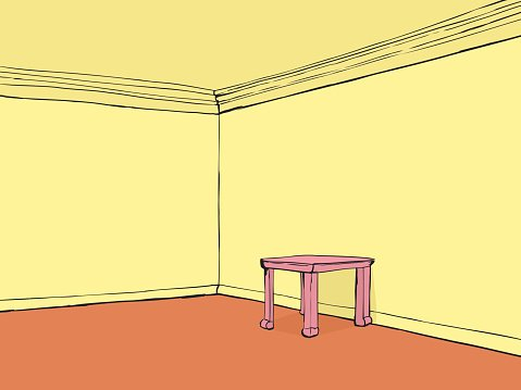 Empty Room With Pink Table premium clipart.