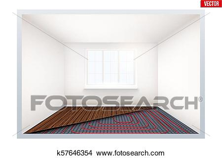 Empty room with heating floor and window Clipart.