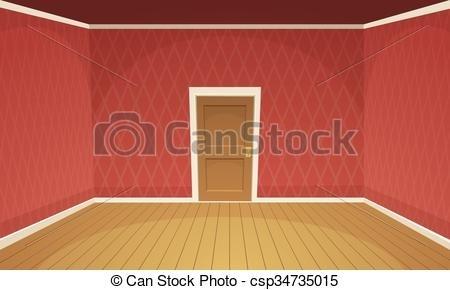 Empty Room. Cartoon Illustration Of Empty, Retro Style Room. inside.