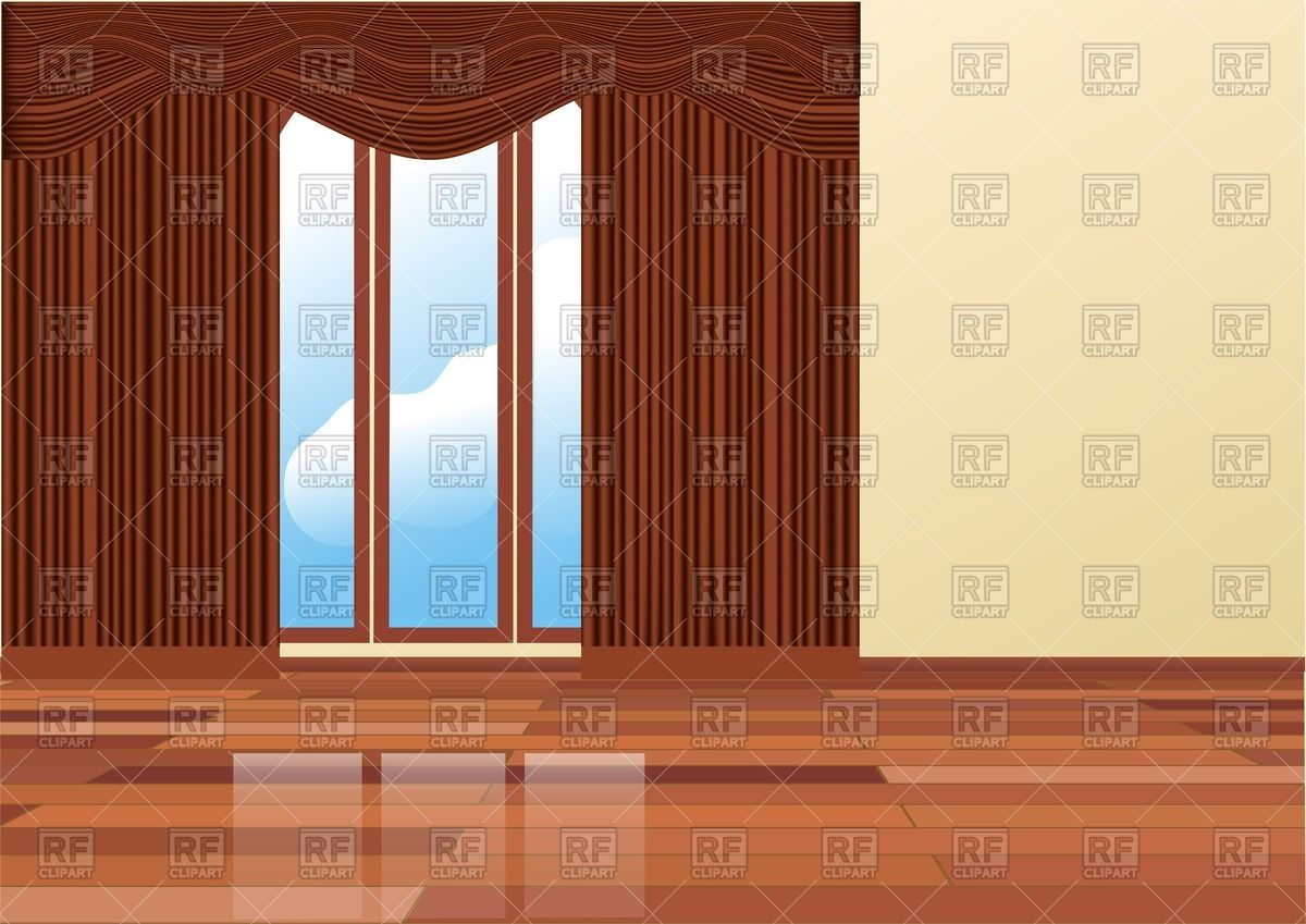 Empty room interior with brown curtains Stock Vector Image.