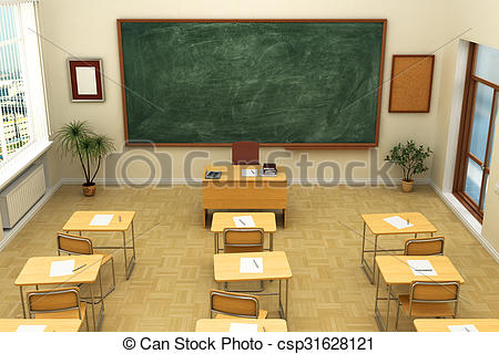 Clip Art of Empty school classroom with blackboard for training.