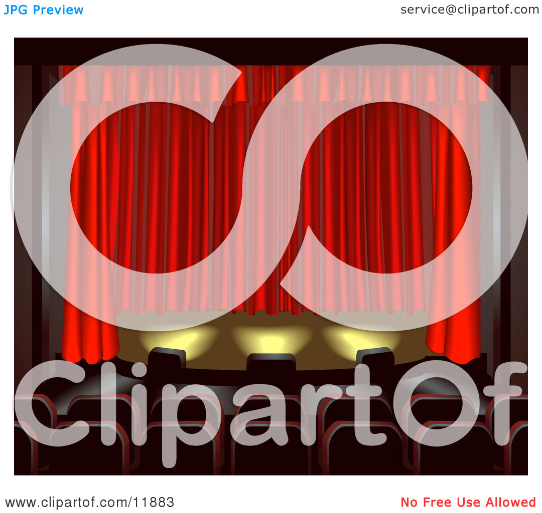Empty Seats Facing a Red Curtain in a Theater Clipart Illustration.