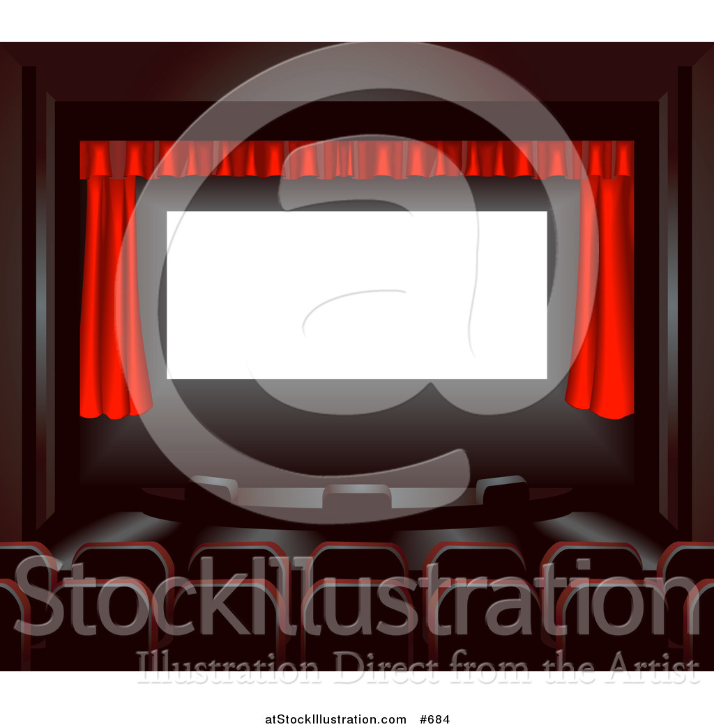 Vector Illustration of Empty Seats Facing a Red Curtain in a.