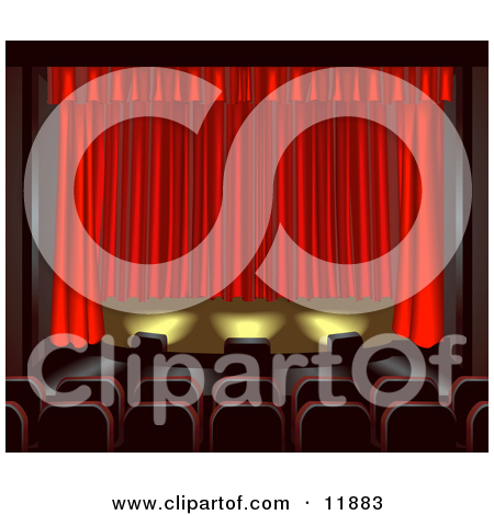 Clipart Empty Theater Stage With Red Drapes And Shining Lights.