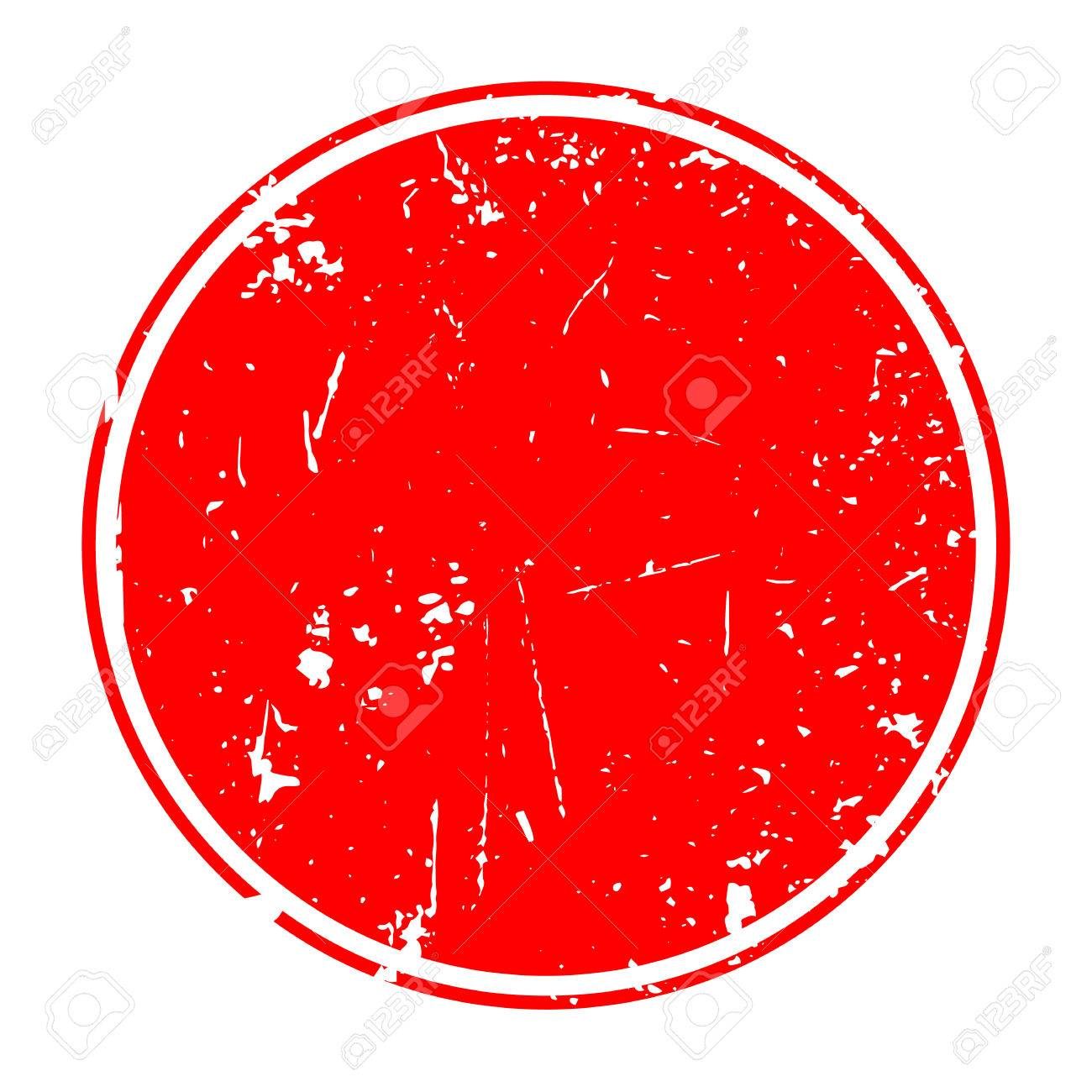 Grunge red blank rubber stamp template.