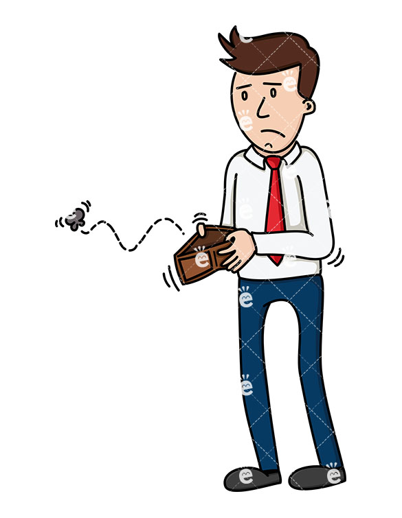 A Businessman Opening An Empty Wallet With An Insect Flying Out.