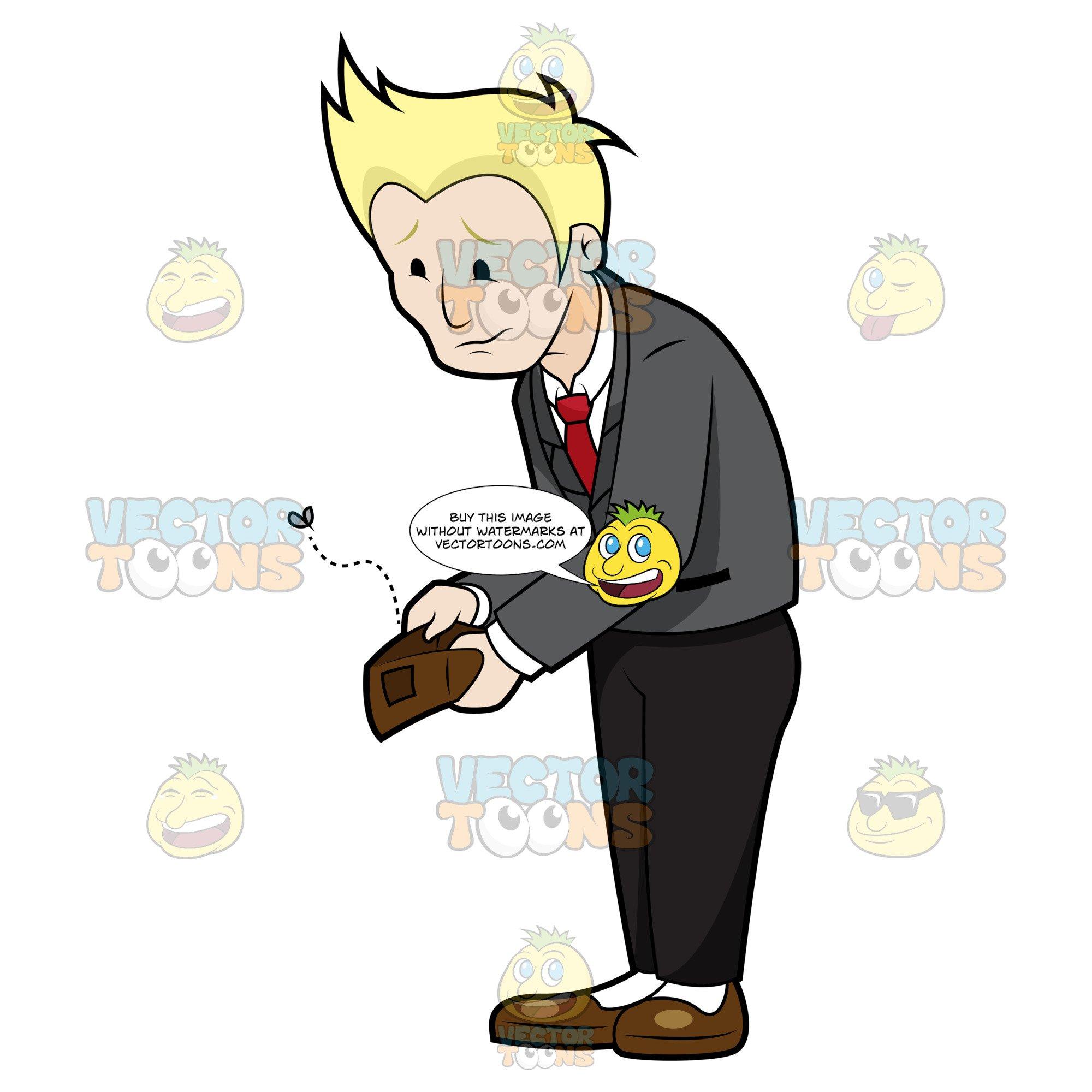 Blonde Man In Grey Jacket Holding Empty Wallet.