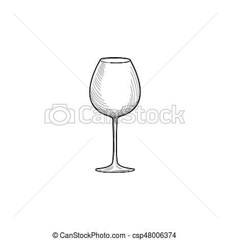 Empty wine glass. Engraving illustration of wineglass. Glassware.