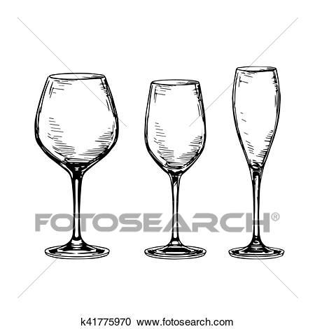 Set of empty wine glasses. Clipart.