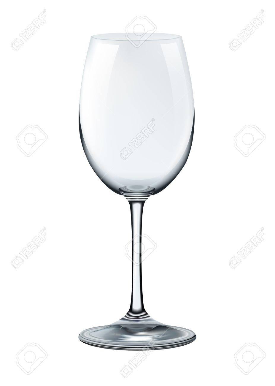 photorealistic empty wine glass isolated illustration.