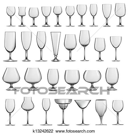 Set of empty glass goblets and wine glasses Clipart.