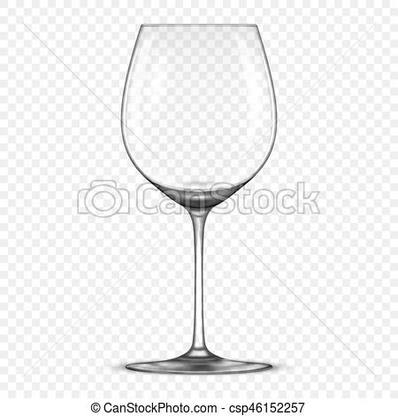 Vector realistic empty wine glass icon isolated on transparent background.  Design template in EPS10..