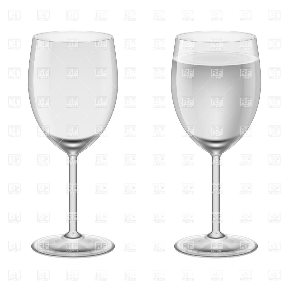 Empty wineglass and wineglasses with water Stock Vector Image.