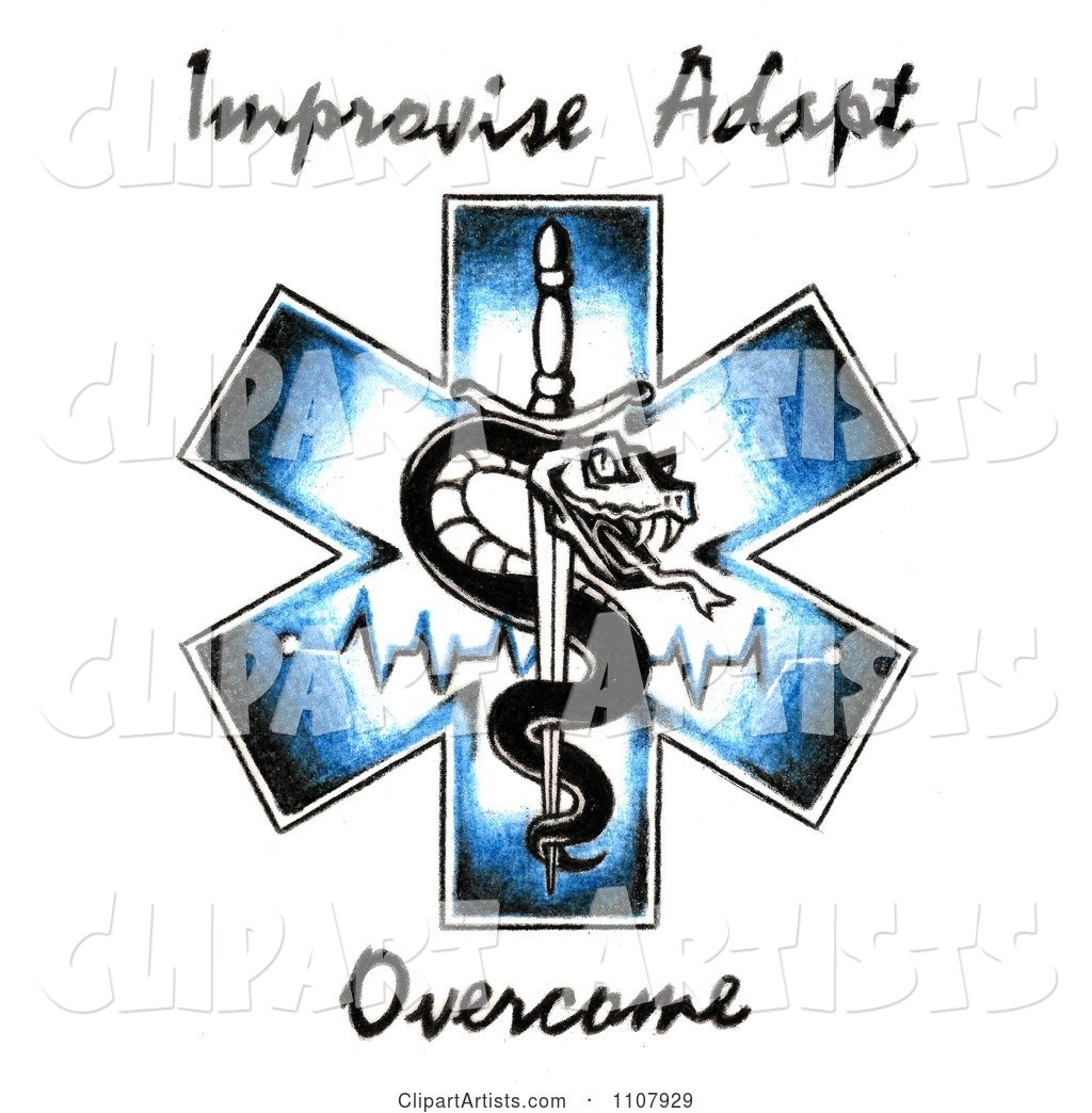 EMS Snake And Sword Symbol With Improvise Adapt Overcome Text.