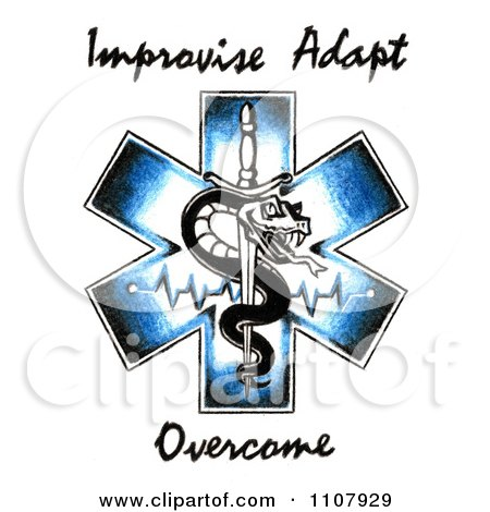 Clipart EMS Snake And Sword Symbol With Improvise Adapt Overcome.
