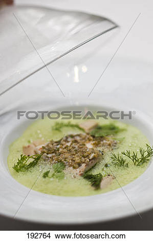 Stock Photo of Bass with fountain watercress emulsion and.