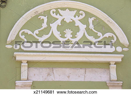 Stock Photography of Plaster detail on green building,16th.