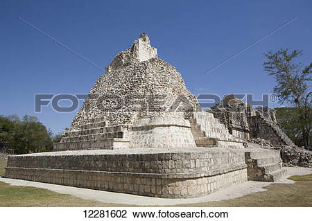 Stock Photo of Painted Vault Temple, Dzibilnocac Mayan.