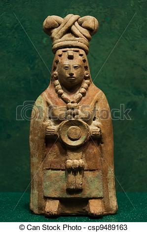 Stock Photos of Figurine from Jaina Campeche Mexico Halach Uinic.