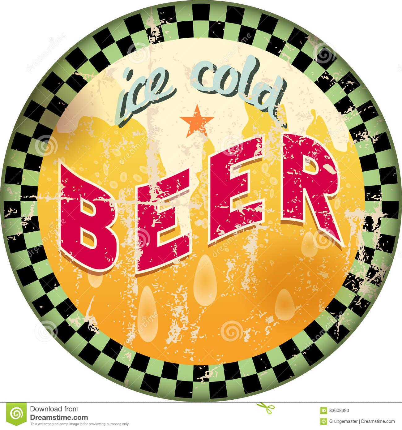 Retro Beer Advertising Enamel Sign Stock Vector.