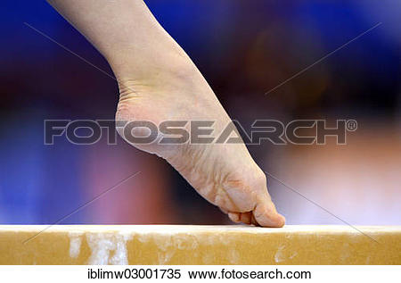 "Stock Image of ""Detail view of a foot, balance beam, EnBW."