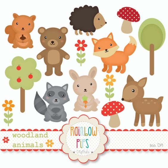 Woodland Forest Animals Digital Clipart Set.